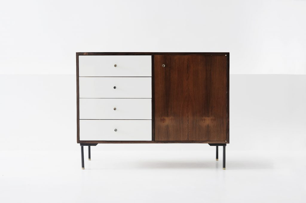 Chest of drawers (pair) Manufactured by Geraldo de Barros with Unilabor Brazil, 1957 Rosewood , formica, painted steel and brass handles.