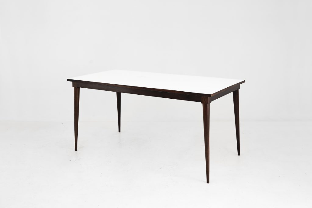 Dining table Manufactured by Unilabor Brazil, 1955 Jacaranda, white formica top