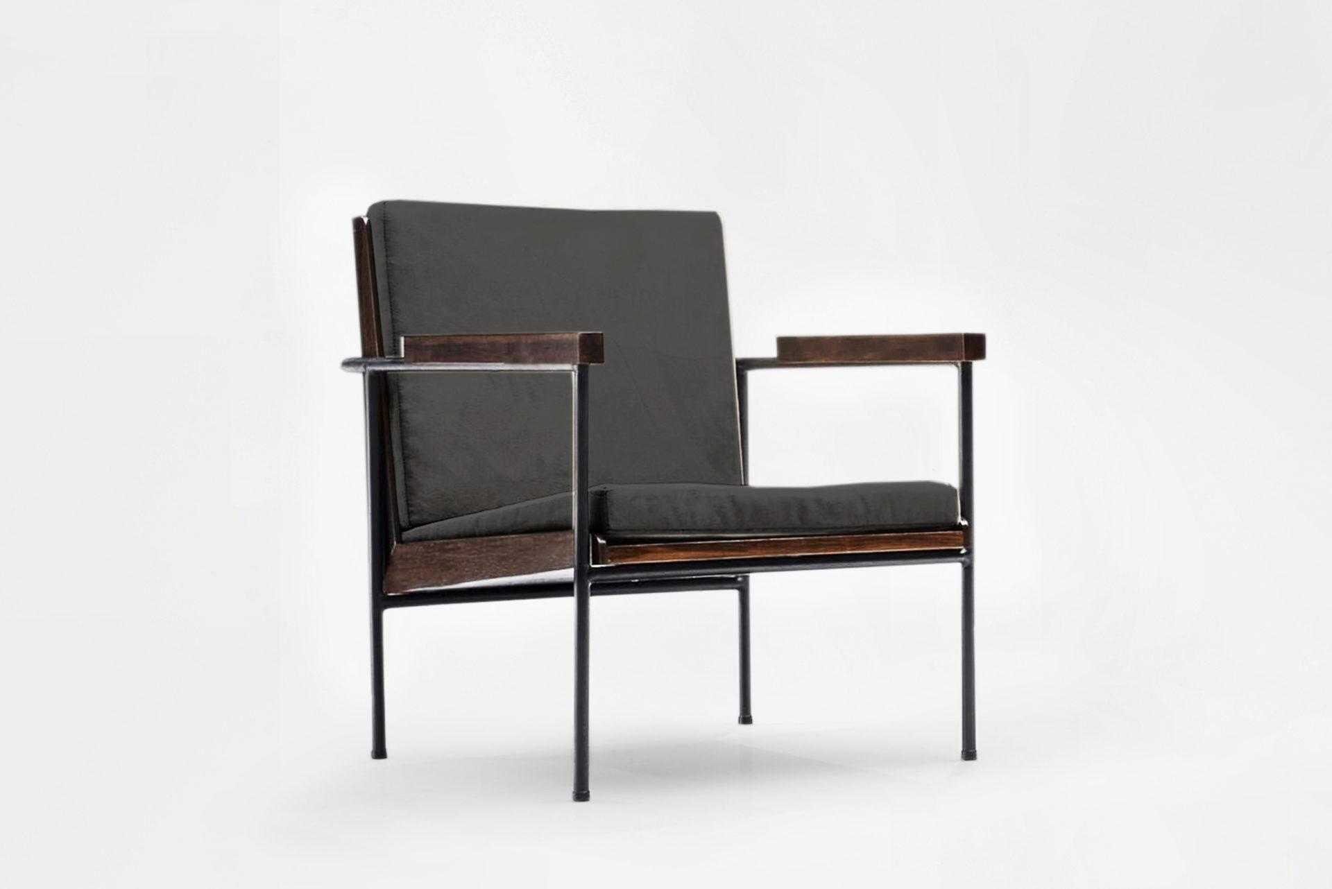 Pair of armchairs Manufactured by Unilabor Brasil, 1955 Iron, jacaranda, upholstery