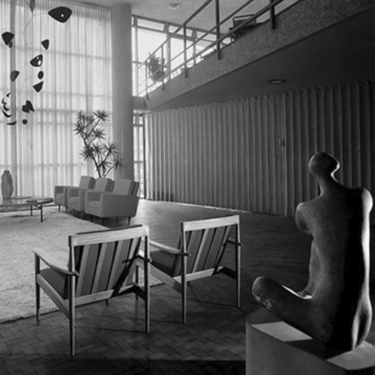 The institute of Architecture, Brazil, 1943. Designed by Miguel Forte one of Branco & Preto's founding members. The double-hight interior in the image shows the restaurant and a meeting room.-