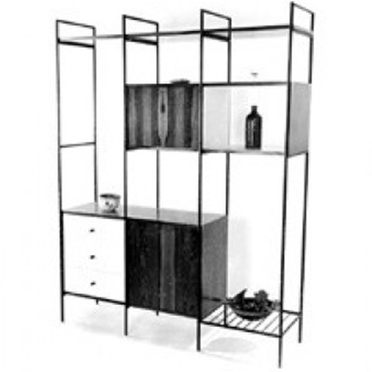 An archive image of the bookcase MF710 designed by Geraldo de Barros and produced by Unilabor.