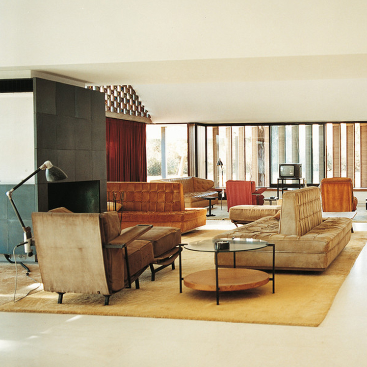 Interiors from La Casa Ricard, designed by architect Antoni Bonet in 1953-1963 in the suburbs of Barcelona.