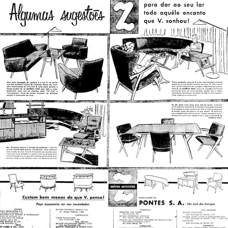 Magazine advertisment for Moveis Z the manufacturing company of Jose Zanine Caldas