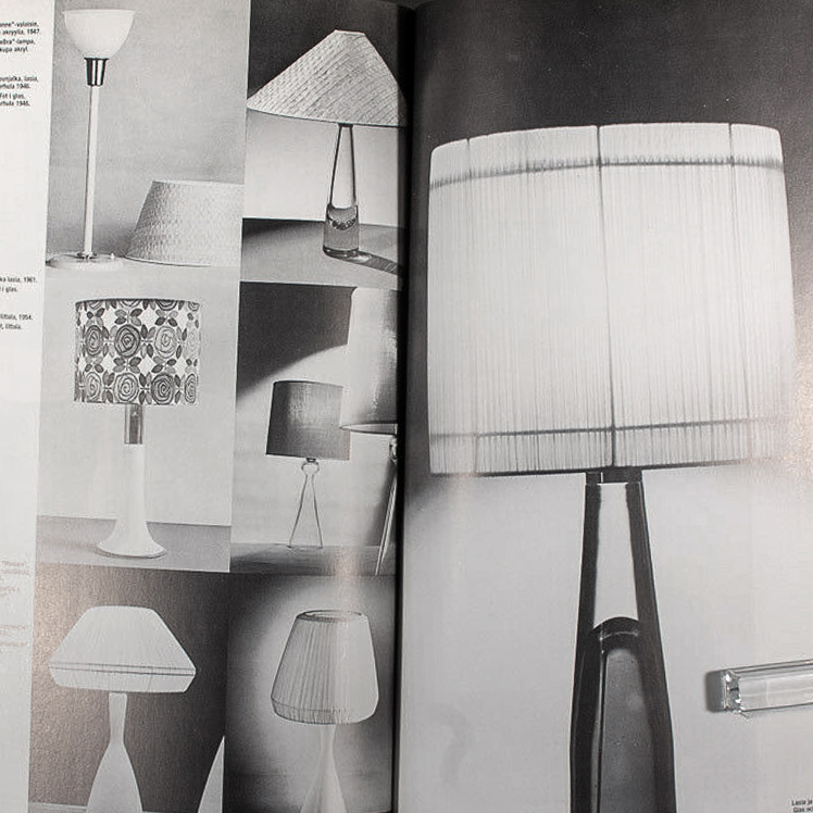 Lamp Catalogue of Lisa Johansson-Pape. A black and white catalogue displaying seven lamps.