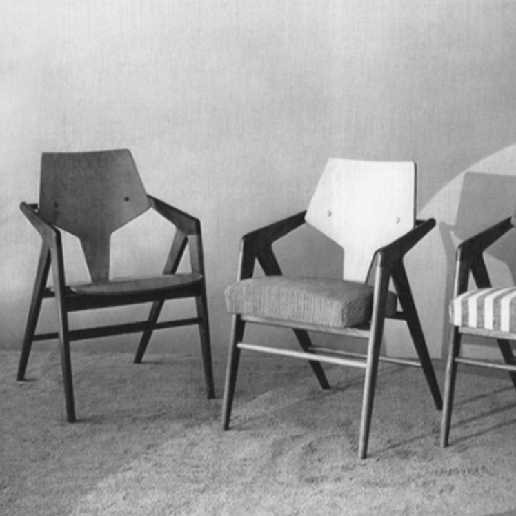 Chair with arms, mahogany wood frame, molded plywood frame, seat no. 51, 52 and 53 by Cornelis Zitman.