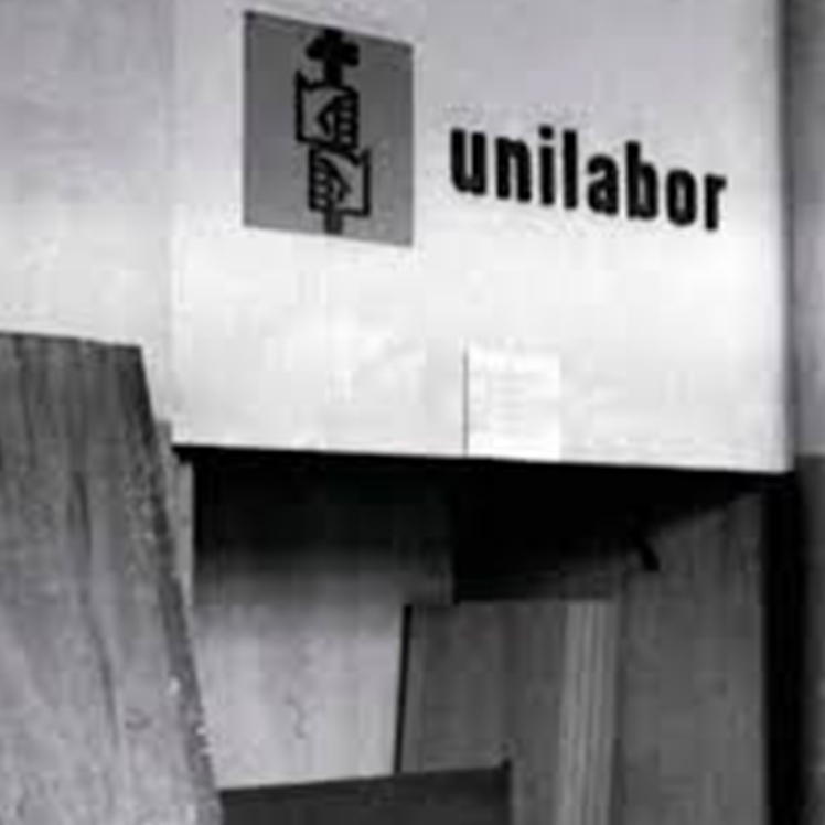 The outside of the Unilabor workshop in 1954, Sao Paulo, Brazil