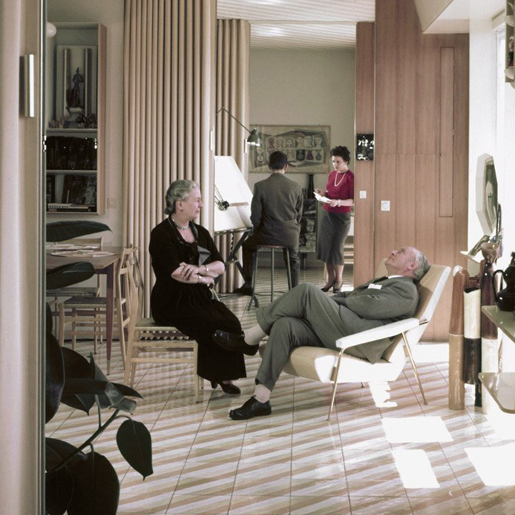Gio Ponti and his wife at their home on Via Dezza, Italy, 1950s