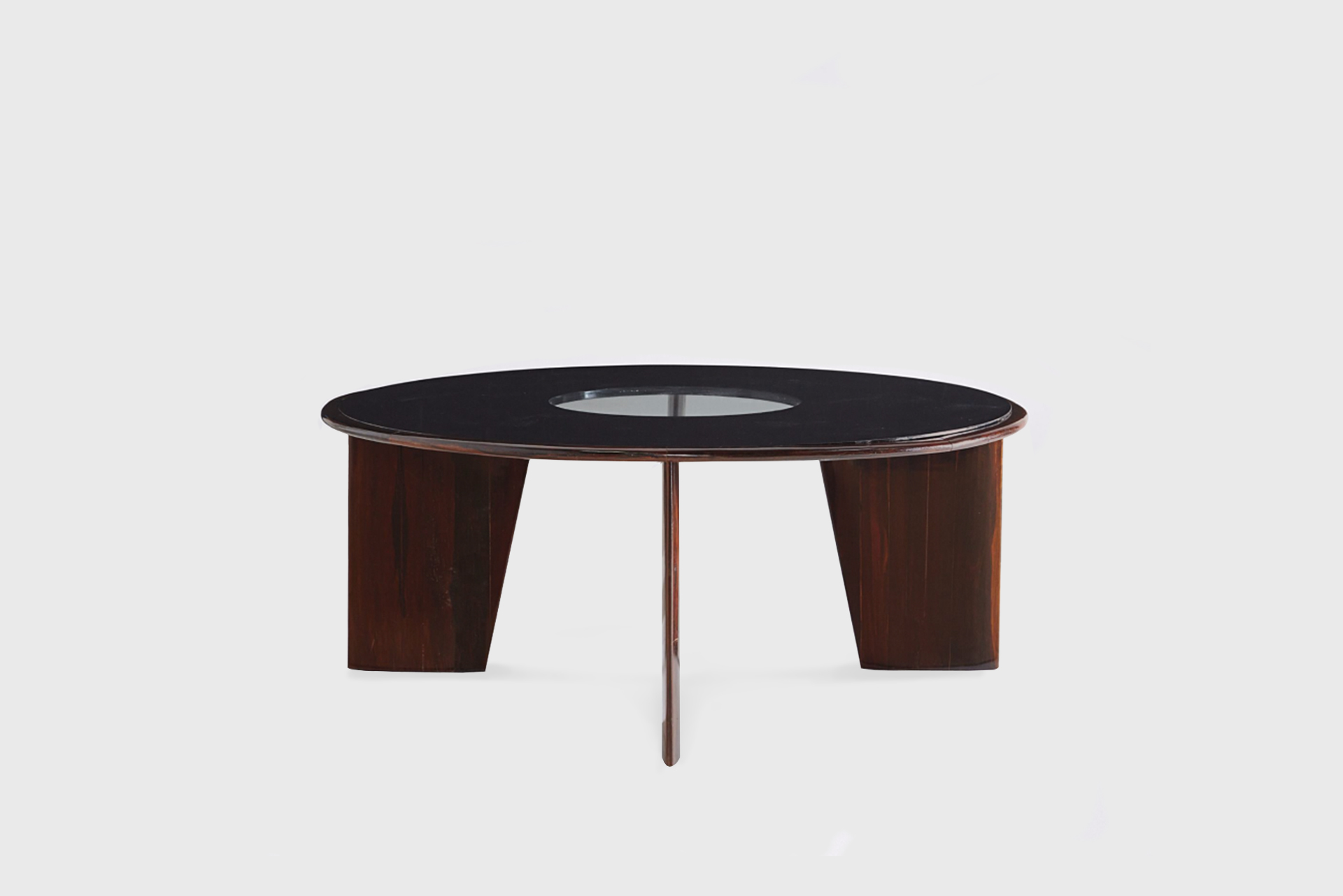 Dining table model Brasil, 1960s Brazilian rosewood, partially reverse-painted glass, painted wood