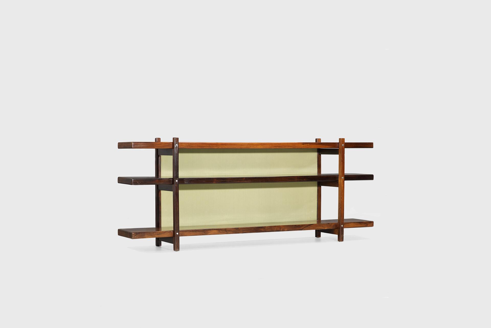Vladi shelves Manufactured by Oca Brazil, 1964 jacaranda, fabric over wood, chrome-plated brass