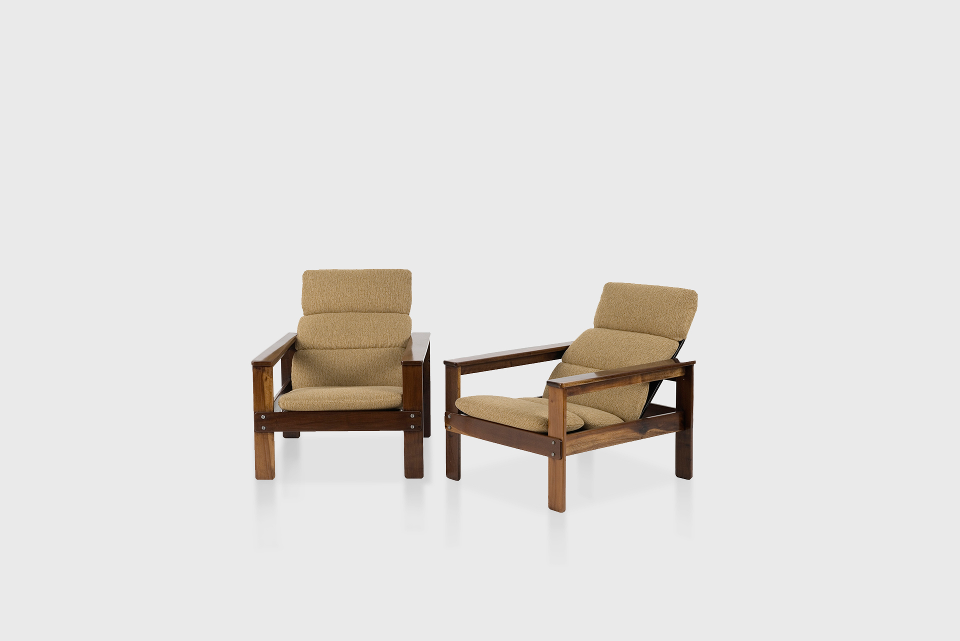 Pair of armchairs Manufactured by Hobjeto Brazil, 1970s Wood, fabric upholstery