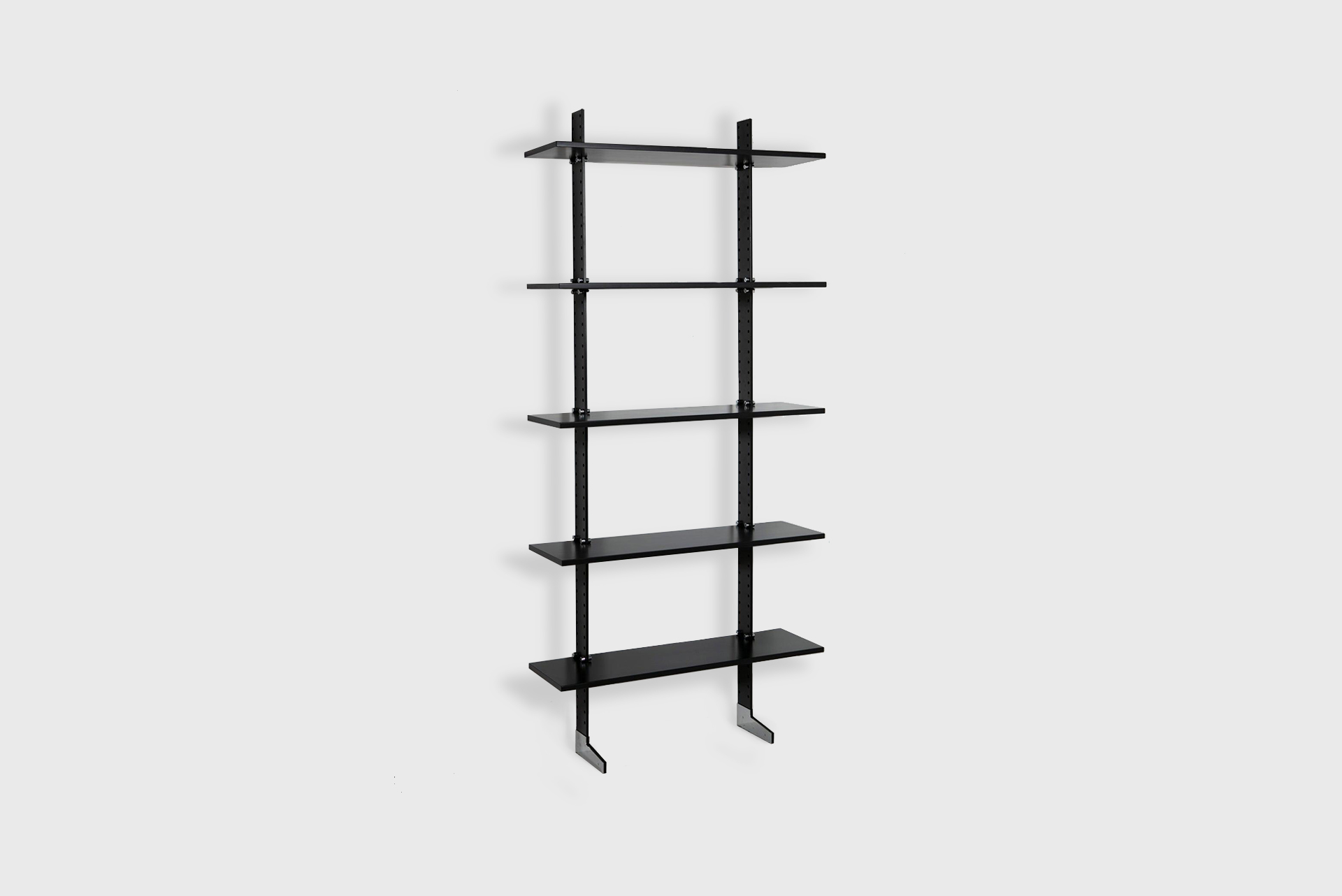 """Bookcase model """"Lb2"""" Manufactured by Misura Emme Italy, 1980 Black painted steel, wood shelves, chrome details"""