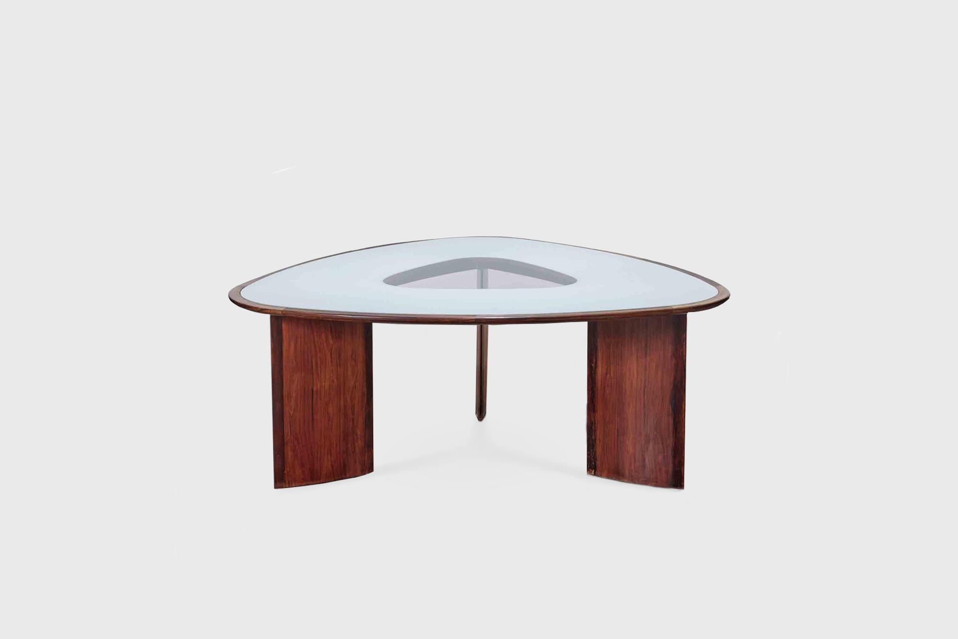 "Dining table model ""Mesa Triangular"" Brazil, 1960s Jacaranda, reverse-painted glass"