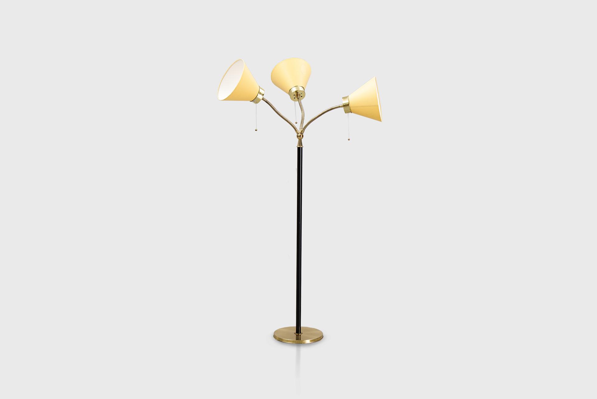 "Floor lamp model ""2431"" or ""'Tre-Spiralen'"" Manufactured by Svenskt Tenn Sweden, 1940 ́s Brass, leather, fabric shades"