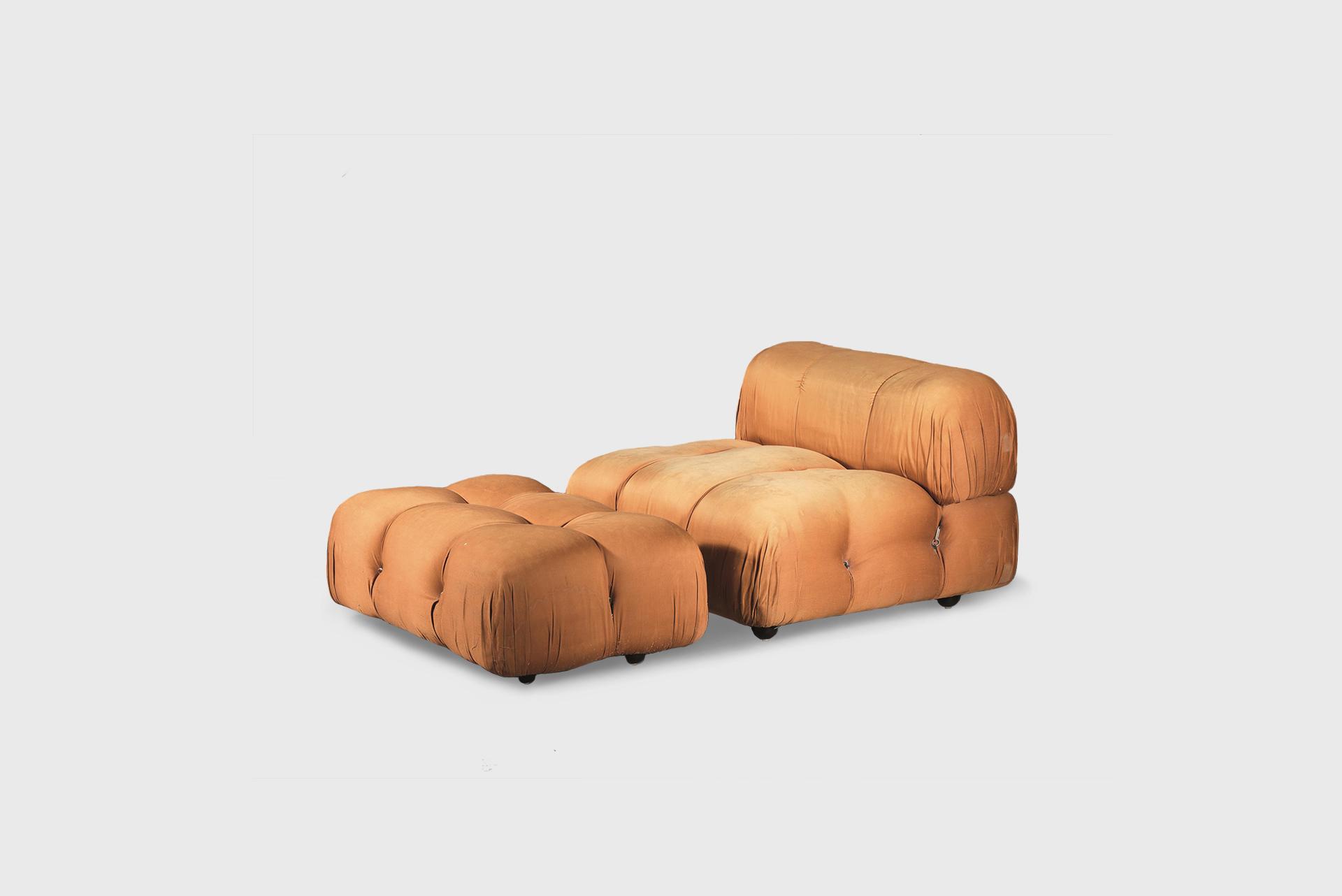 """Camaleonda"" Armchair and footrest Produced by B&B Italy, 1970s Upholstery"