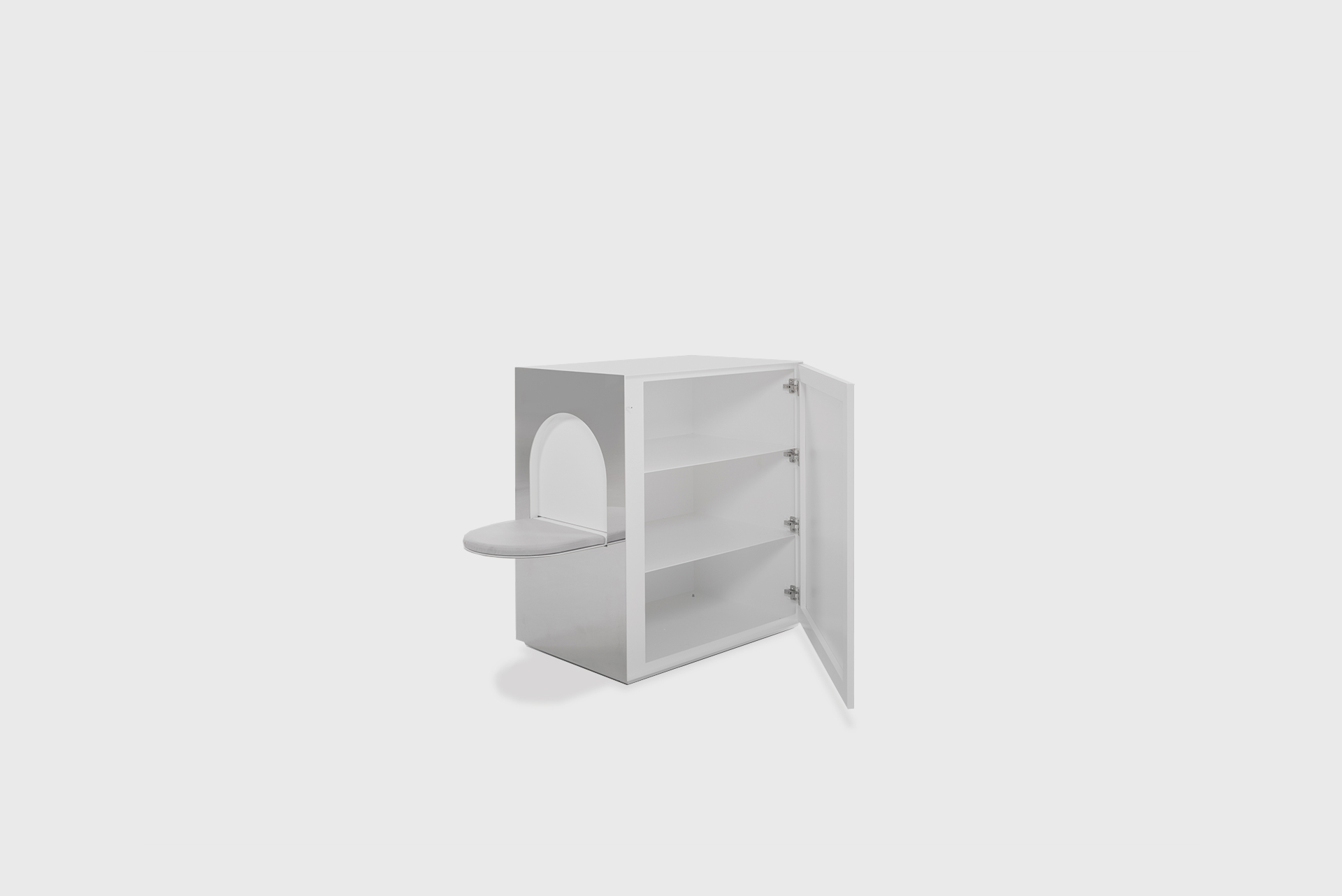 """Buffet Seat From the series """"Beasts"""" Produced in exclusive for SIDE GALLERY Manufactured by ERTL und ZULL Berlin, 2021 White powder-coated steel, mirror, upholstery"""