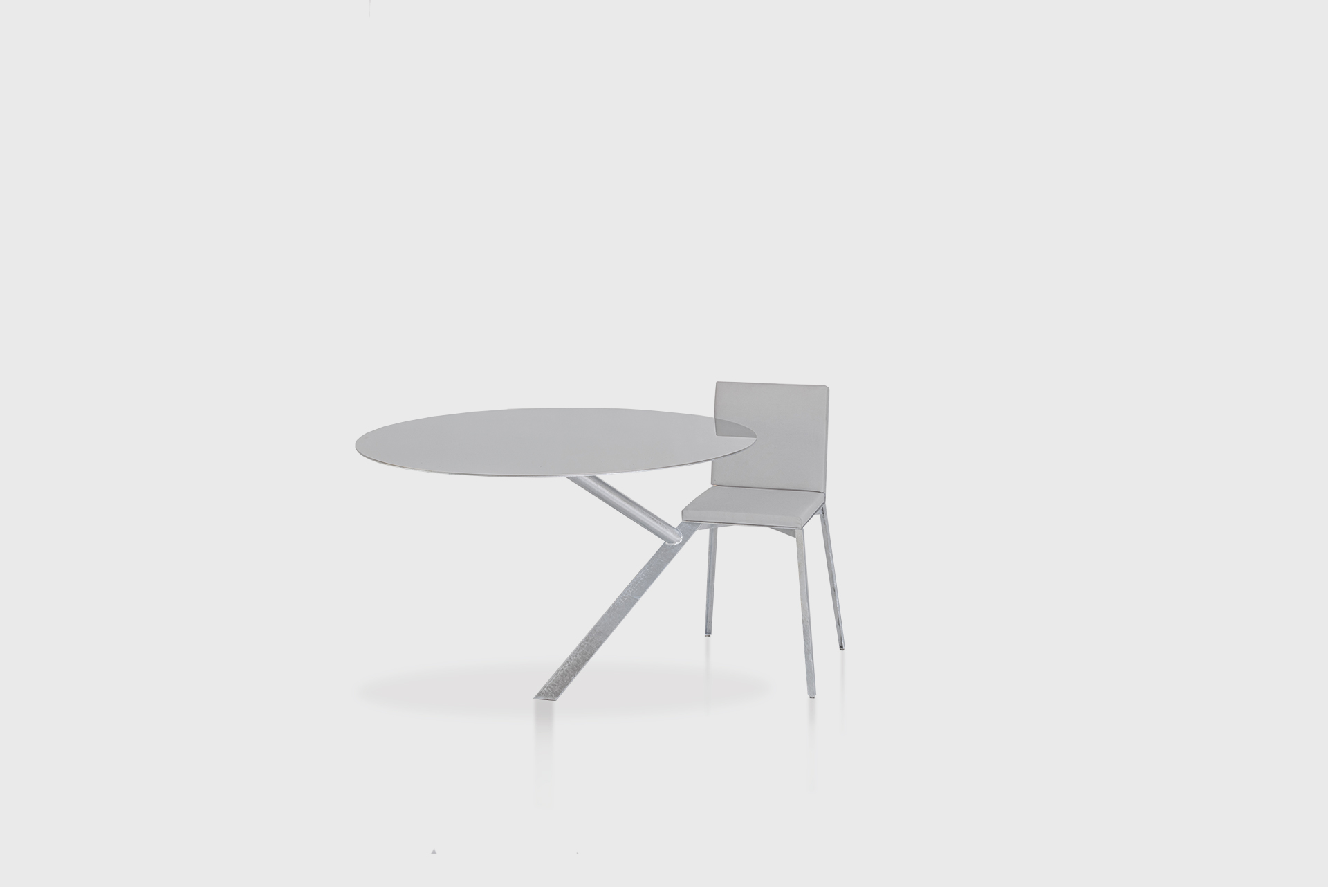 """Chair With Table Attached From the series """"Beasts"""" Produced in exclusive for SIDE GALLERY Manufactured by ERTL und ZULL Berlin, 2021 Galvanized steel, mirror, upholstery"""