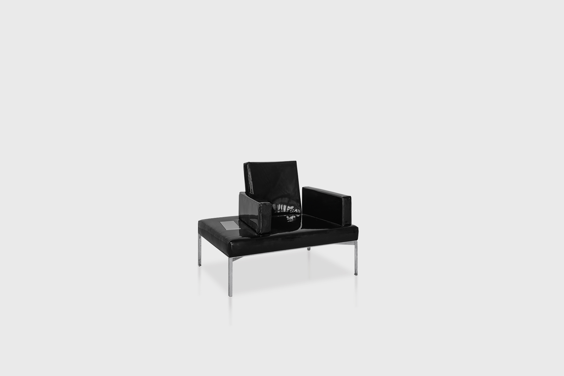 """Club Chair From the series """"Beasts"""" Produced in exclusive for SIDE GALLERY Manufactured by ERTL und ZULL Berlin, 2021 Galvanized steel, black vinyl upholstery"""