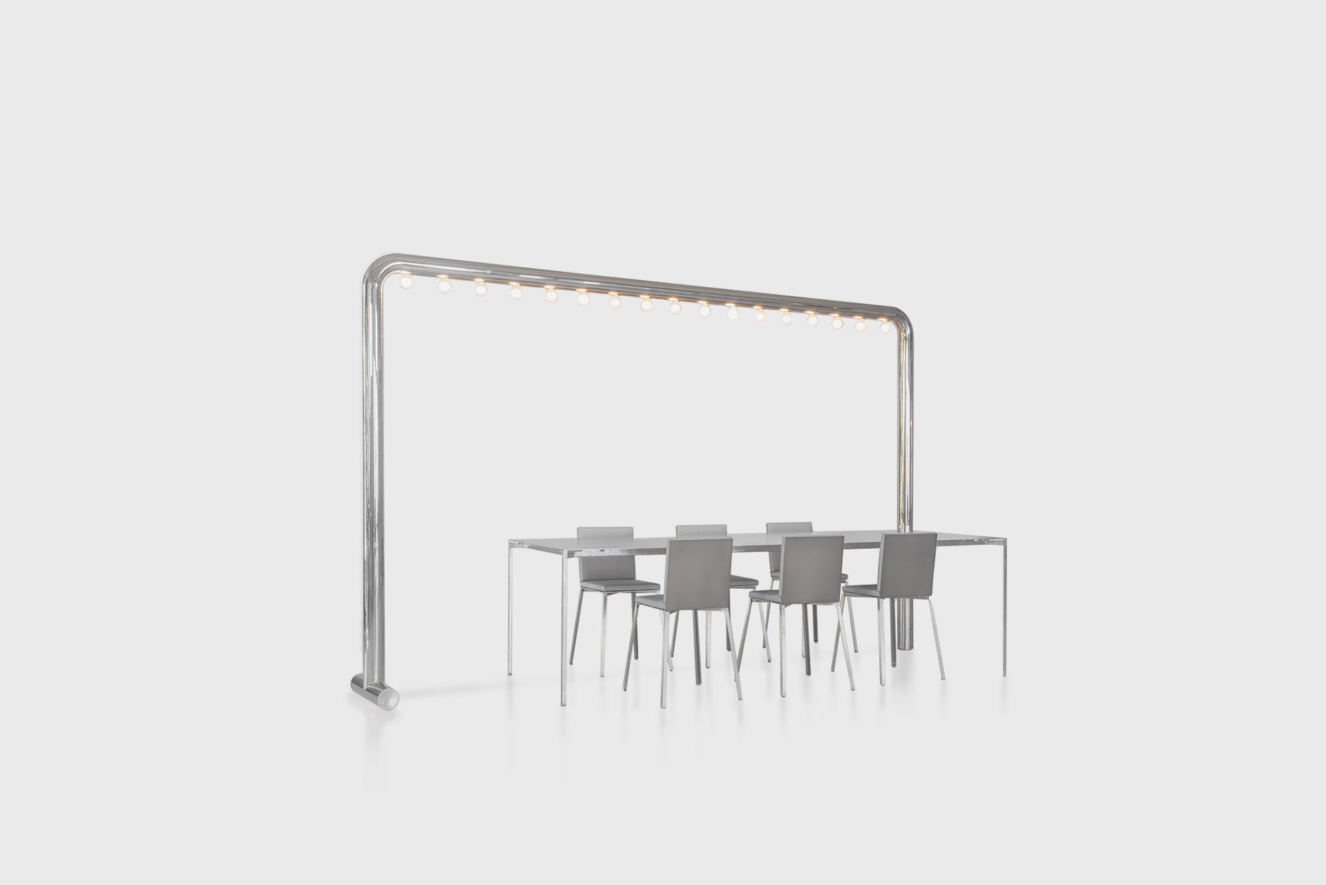 """Dining table From the series """"Beasts"""" Produced in exclusive for SIDE GALLERY Manufactured by ERTL und ZULL Berlin, 2021 Galvanized steel, high polished steel"""