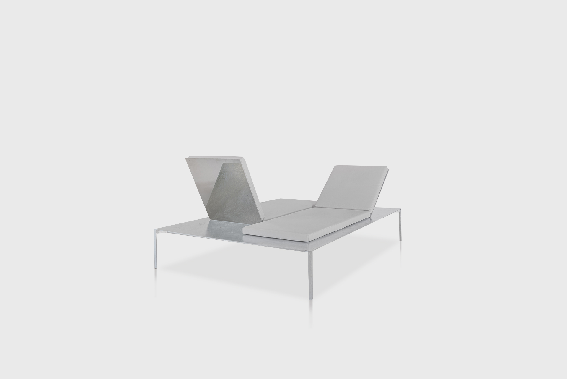 """Patio Furniture Double Sun Chair From the series """"Beasts"""" Produced in exclusive for SIDE GALLERY Manufactured by ERTL und ZULL Berlin, 2021 Galvanized steel, upholstery"""