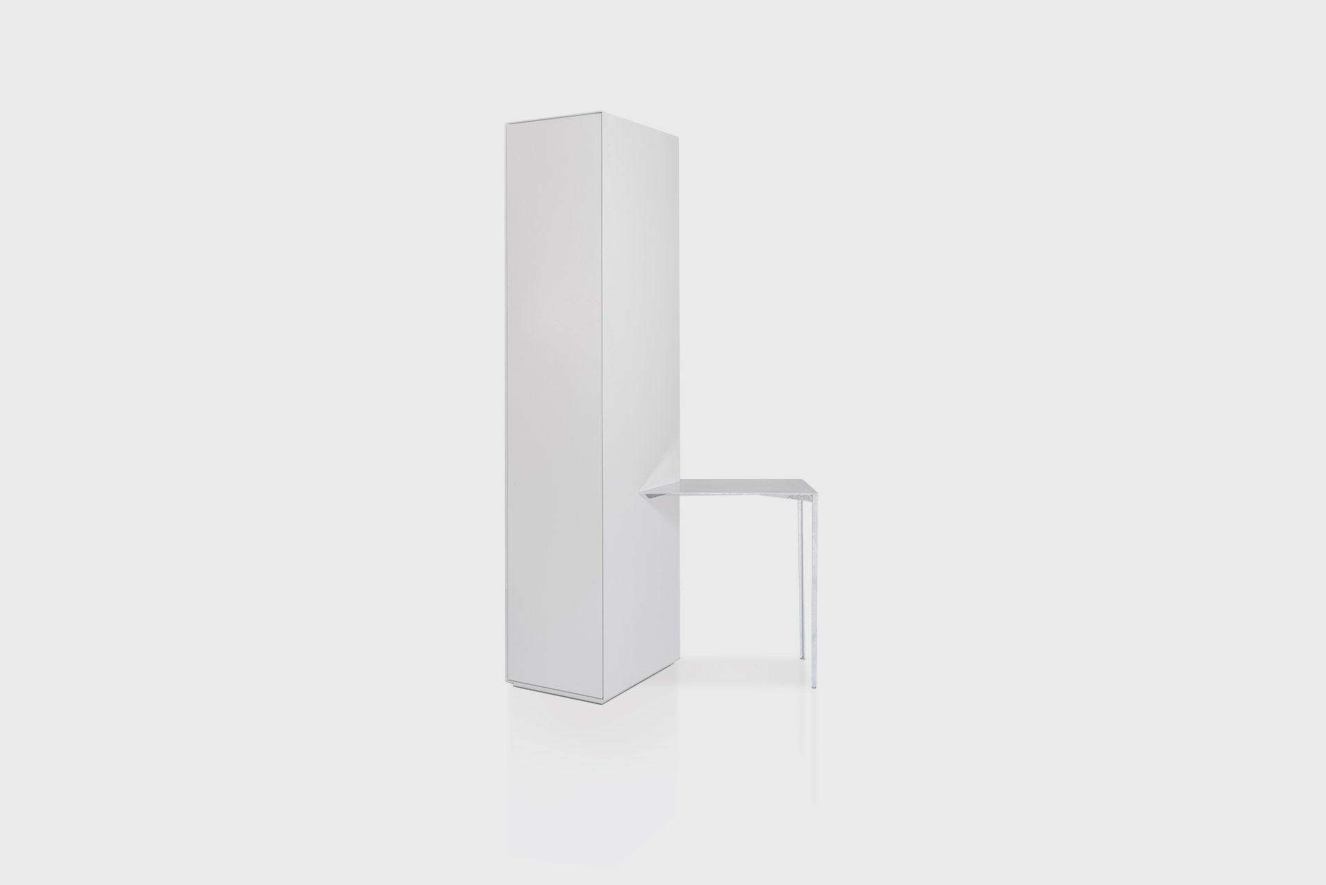 """Storage with Side Table From the series """"Beasts"""" Produced in exclusive for SIDE GALLERY Manufactured by ERTL und ZULL Berlin, 2021 Galvanized steel, white powder-coated steel"""