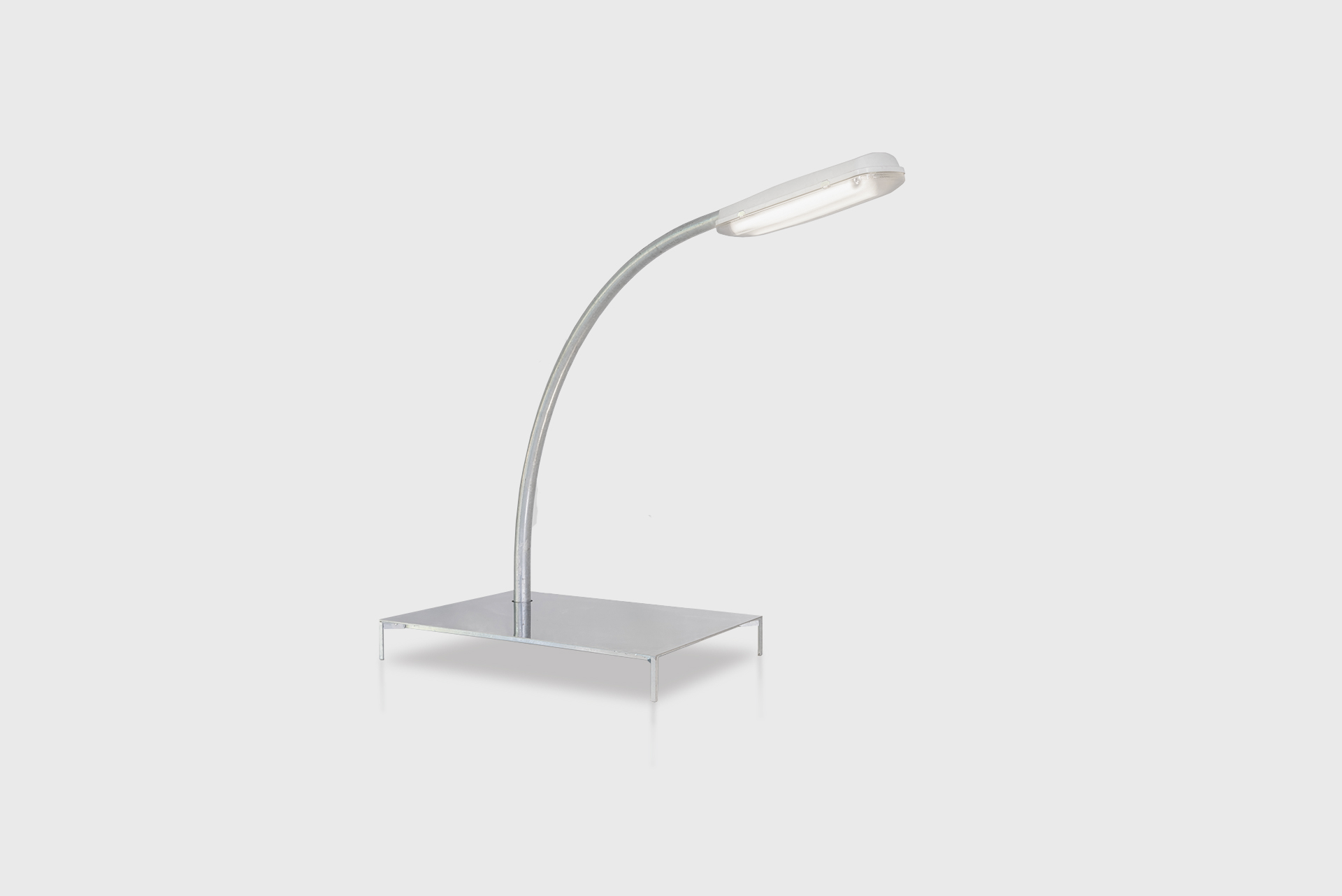 """Streetlight Table From the series """"Beasts"""" Produced in exclusive for SIDE GALLERY Manufactured by ERTL und ZULL Berlin, 2021 Galvanized steel, mirror"""