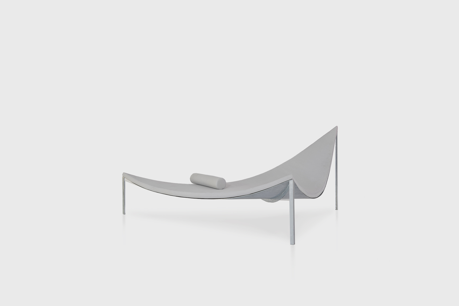 """Triangle Chaise Sofa From the series """"Beasts"""" Produced in exclusive for SIDE GALLERY Manufactured by ERTL und ZULL Berlin, 2021 Galvanized steel, upholstery"""