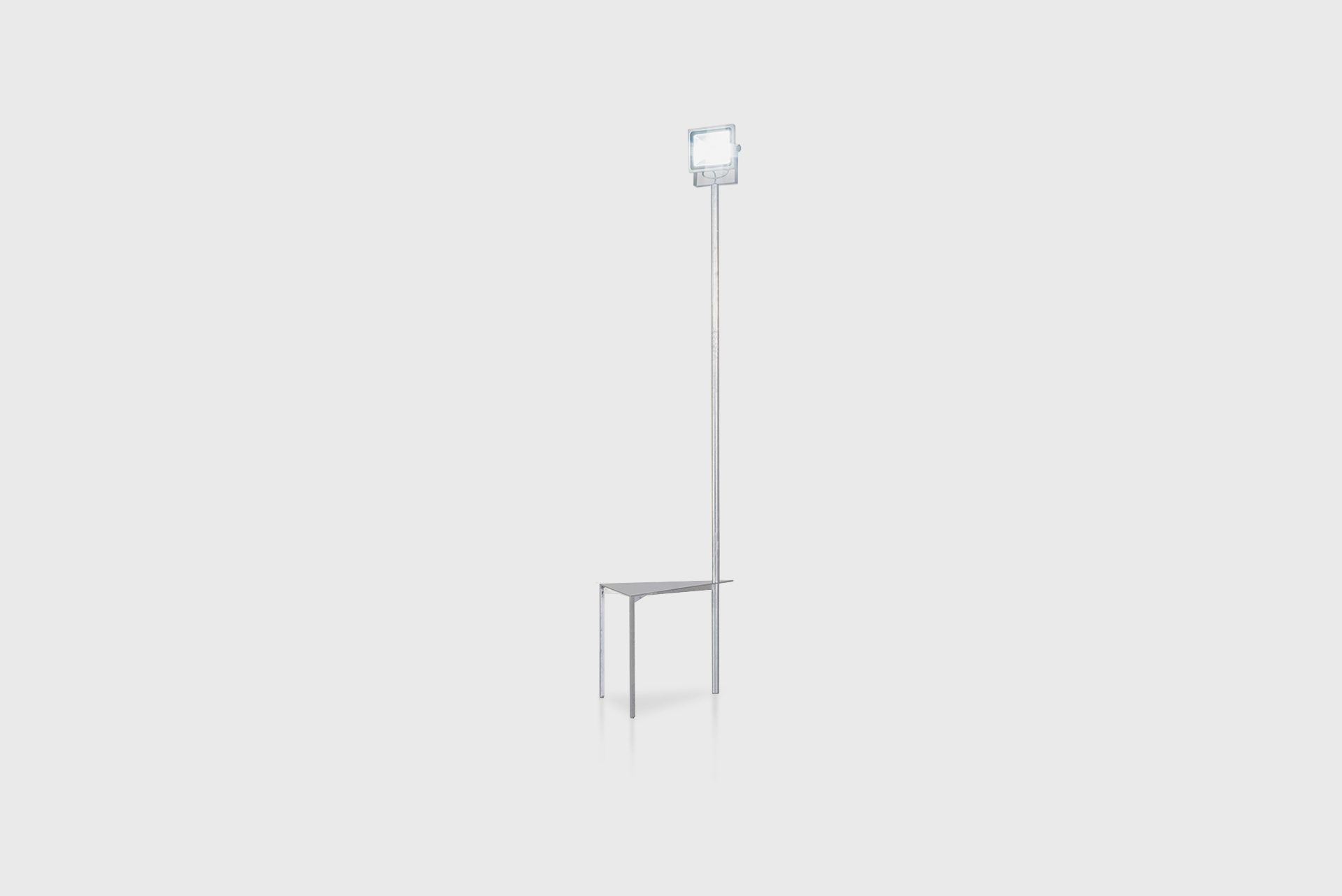 """Triangle Side Table Kugel Light From the series """"Beasts"""" Produced in exclusive for SIDE GALLERY Manufactured by ERTL und ZULL Berlin, 2021 Galvanized steel, mirror"""