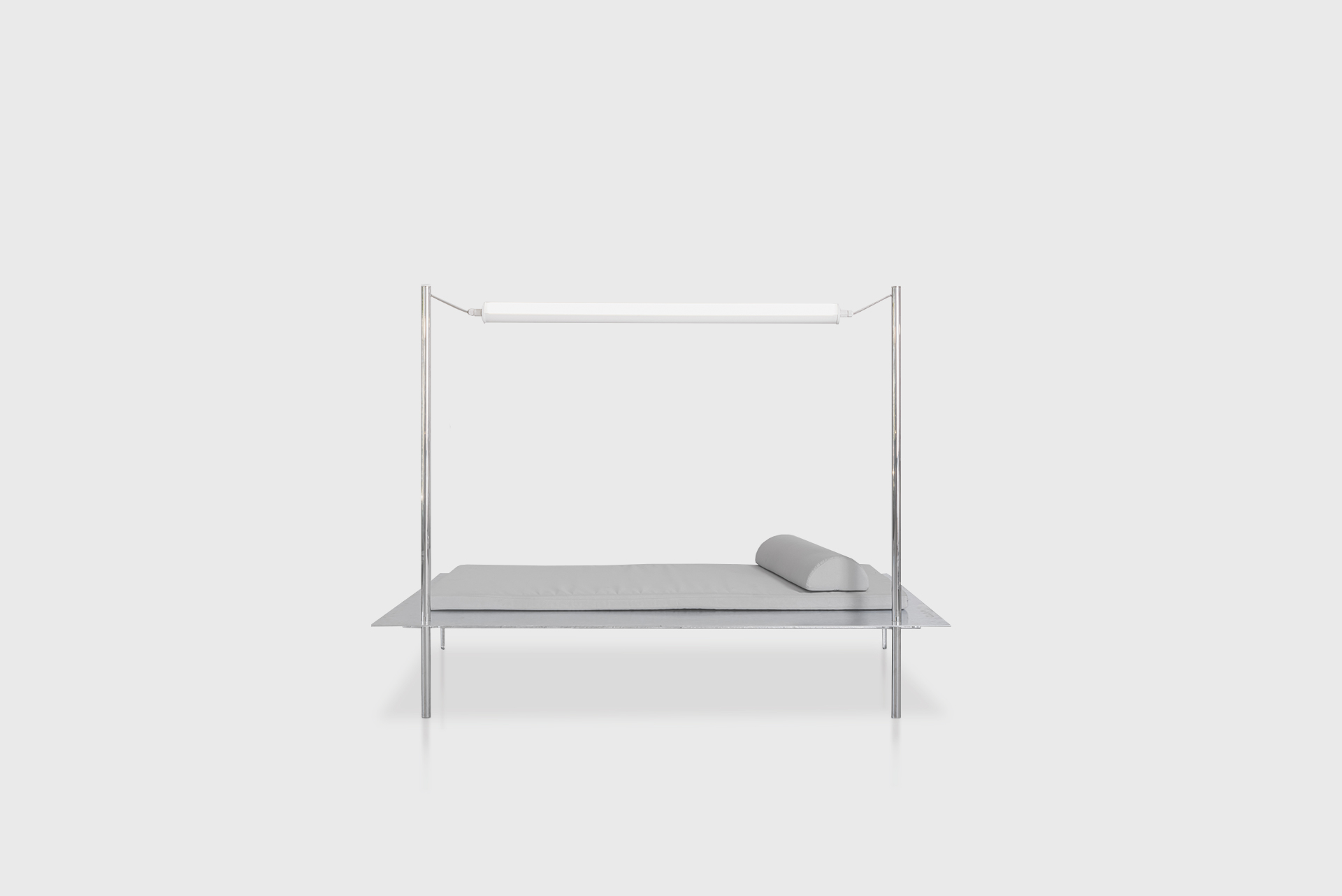 """Tube Light Daybed From the series """"Beasts"""" Produced in exclusive for SIDE GALLERY Manufactured by ERTL und ZULL Berlin, 2021 High polished steel, galvanized steel, upholstery"""